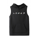 Funny Letter LONER Printed Sleeveless Hooded Tank Hoodie with Pouch Pocket