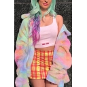 Trendy Colorful Tie Dye Print Lapel CollarLong Sleeve Zip Up Rabbit Fur Loose Coat