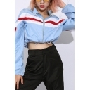 Women Classic Snap Collar Stripe Printed Long Sleeve Drawstring Hem Zip Up Blue Cropped Jacket