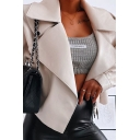 Womens Simple Plain White Notched Lapel Collar Long Sleeve Tied PU Leather Short Jacket