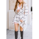 Women's Stylish Plaid Turn Down Collar Tied Waist Asymmetric Hem Wrap Wool Coat