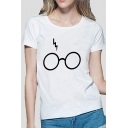 Girls Chic Magic Lightning Glasses Pattern Short Sleeve Casual Fitted T-Shirt