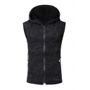 Mens Simple Black Sleeveless Full Zip Slim Fit Sport Drawstring Hoodie Vest