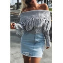 New Fashion Ladies Sexy Off Shoulder Long Sleeve Tassel Embellished Chunky Knit Pullover Sweater