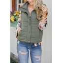 Winter Popular Plain Stand Collar Sleeveless Full Zip Slim Fit Casual Vest with Pocket