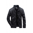 Men's Classic PU Leather Stand Collar Long Sleeve Pleated Detail Black Thick Motorcycle Jacket