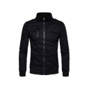 Mens Military Style High Collar Long Sleeve Zip Up Flap Pocket Slim Fit Casual Thin Jacket