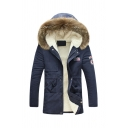 Popular Logo Patchwork Long Sleeve Gathered Waist Sherpa Lined Longline Padded Parka Coat with Fur Trimmed Hood