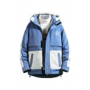 Fashionable Letter H Printed Chest Color Block Long Sleeve Drawstring Hood Loose Safari Jacket Down Coat
