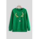 Lovely Christmas Elk Pattern Round Neck Long Sleeve Green Oversized Casual Sweatshirt
