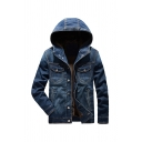 Mens Casual Long Sleeve Button Down Loose Fit Hooded Denim Jacket with Pocket