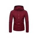 Mens Simple Plain Long Sleeve Zip Placket Slim Fit Hooded Sportive Jacket Coat