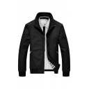 Mens Winter Popular Black Lapel Long Sleeve Zip Up Casual Fitted Jacket Coat