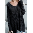 Womens Casual Black Plain Long Sleeve High Low Hem Chunky Knit Longline Pullover Sweater