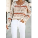 Womens Sexy Stripes Printed Long Sleeve Hollow Out Knitted Pullover Sweater Blouse Top