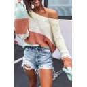 Womens Fashionable Color Block Round Neck Lantern Sleeve Loose Fit Knitted Pullover Sweater