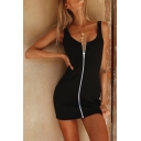 Womens Sexy Scoop Neck Zip Up Front Backless Black Casual Mini Tank Dress