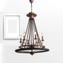 Antique Style Rust Chandelier Candle 6 Lights Metal Pendant Light with Wheel for Cafe