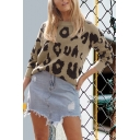 Womens Fashionable Leopard Print Round Neck Regular Casual Pullover Sweater