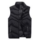 Mens Fashionable Black Stand Collar Sleeveless Letter Tape Embellished Pocket Zip Up Warm Down Vest
