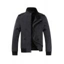 Mens Warm Long Sleeve Stand Collar Zip Up Slim Fit Dark Grey Wool Jacket with Epaulets
