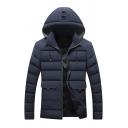 Navy Plain Long Sleeve Flap Pocket Zip Placket Slim Fit Warm Hooded Down Coat for Men