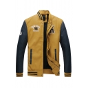 New Fashionable Letter NEW YORK 98 Printed Long Sleeve Stand Collar Zipper Yellow Varsity Baseball Jacket