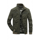Mens New Trendy Army Green High Collar Long Sleeve Striped Trim Slim Fit Zipper Casual Jacket