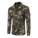 Mens Trendy Jungle Camouflage Printed Long Sleeve Zip Closure Outdoor Tactical Military Jacket with Pocket