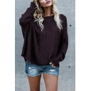 New Fashionable Off the Shoulder Long Sleeve Loose Fit Whole Colored Pullover Sweater
