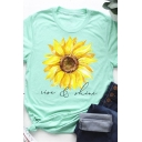 Creative Letter Sunflower Printed Short Sleeve Casual Loose Graphic T-Shirt Top