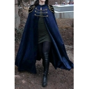 Womens Medieval Punk Shoulder Pads Single Button Chain Embellished Cosplay Witch Cloak Trench Coat