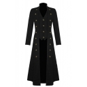 Hot Popular Steampunk Plain Stand Collar Long Sleeve Button Embellished Lace Up Back Gothic Longline Jacket Trench Coat