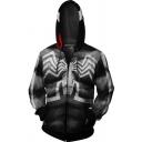 Mens Cool Muscle 3D Printed Black Long Sleeve Zip Up Cosplay Hoodie