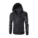 New Arrival Chest Zipper Design PU Panelled Long Sleeve Zip Up Casual Hoodie
