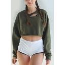 Womens Simple Army Green Solid Color Round Neck Long Sleeve Ripped Cropped Pullover Sweatshirt