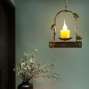 Candle Pendant Light Fixture Metal Vintage 1 Light Hanging Light with Arced Frame in Antique Brass