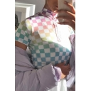 Summer Stylish Colorful Checked Pattern Half Zip Short Sleeve Fitted Crop T-Shirt Top