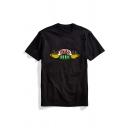 Popular Logo Printed Short Sleeve Crew Neck Regular Casual Unisex T-Shirt Top