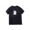 Summer Popular Cartoon Cat with Knife Pattern Short Sleeve Loose Fit Leisure T-Shirt Top