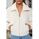 Womens Fashionable Plain Lapel Collar Long Sleeve Zip Up Plush Coat Short Jacket