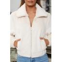 Womens Fashionable Plain Lapel Collar Long Sleeve Zip Up Plush Coat Short Jacket