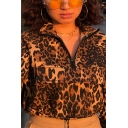 Womens Cool Leopard Printed Half Zip Long Sleeve Drawstring Hem Leisure Cropped Jacket
