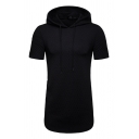 Hip Hop Solid Diamond Embossed Short Sleeve Curved Hem Long T-Shirt Drawstring Hoodie