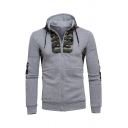 Camouflage Patch Drawstring Hood Elbow Panel Long Sleeve Zip Up Regular Fit Drawstring Hoodie