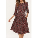 Womens Casual Floral Print Half Sleeve Gathered Waist Chiffon Midi A-Line Dress