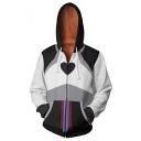 Cool Anime Cosplay Patterned Long Sleeve Zip Up Black & White Casual Drawstring Hoodie