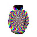 Fashion Colorful Magic Vortex Printed Long Sleeve Drawstring Trippy Hoodie