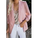 Simple Collarless Long Sleeve Open Front Solid Color Blazer Coat with Pocket for Women