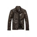 Mens Fashion Stand-Up Collar Long Sleeve Zip Placket Faded Coffee Plain Faux Leather Biker Jacket
